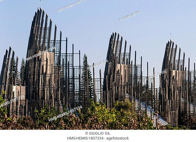 France, New Caledonia, Grande Terre, Noumea, Magenta neighborhood, Jean Marie Djibaou Kanak cultural center by Renzo Piano