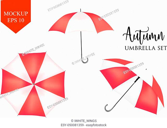 Vector parasol. rain umbrella. red Colored Striped Opened Round Sunshade Mock up set isolated. top, front Side View. Object for advertisement, poster, banner