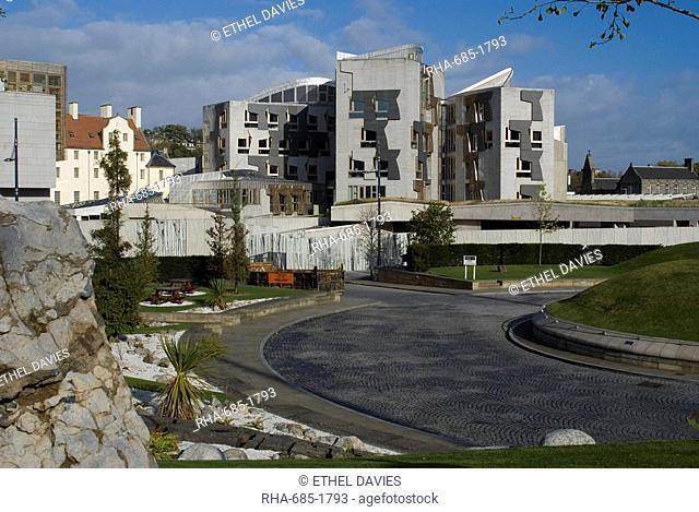 New Scottish Parliament building, architect Enric Miralles, Holyrood, Edinburgh, Scotland, United Kingdom, Europe