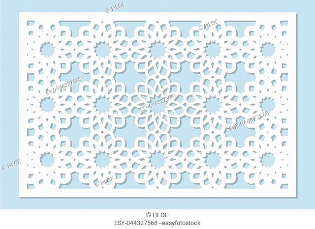 Decorative card for cutting laser or plotter. Arabic pattern. Laser cut. Ratio 2:3. Vector illustration