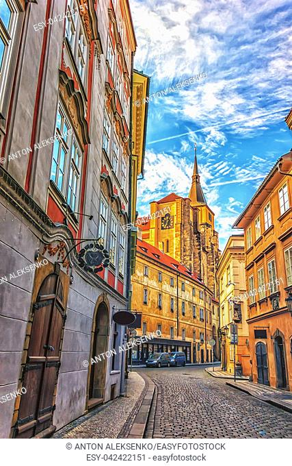 The Church of Saint Giles in a narrow street of Prague, no people