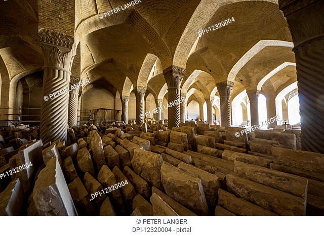Columns in the Shabestan or Prayer Hall of Vakil Mosque; Shiraz, Fars Province, Iran
