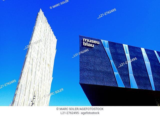 Diagonal Zero Zero Tower designed by the architect Enric Massip, Telefonica Headquarters. Museu Blau, Forum Building. Diagonal Mar district, Barcelona