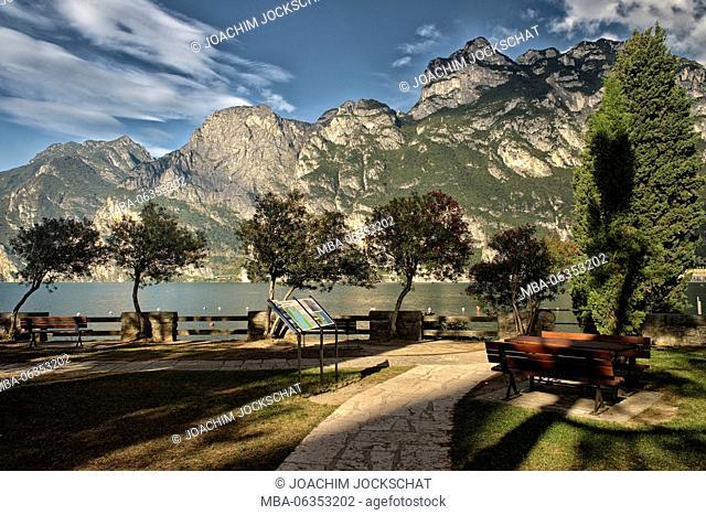 Beach of Torbole in the morning, Lake Garda, province Trento, Trentino South Tirol, Italy