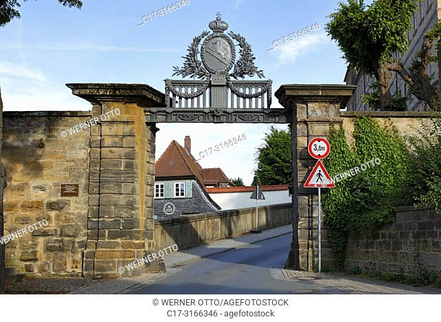 Bamberg, D-Bamberg, Regnitz, Main-Danube Canal, Upper Franconia, Franconia, Bavaria, Iron Gate with heraldic figure, driveway to the cathedral hill