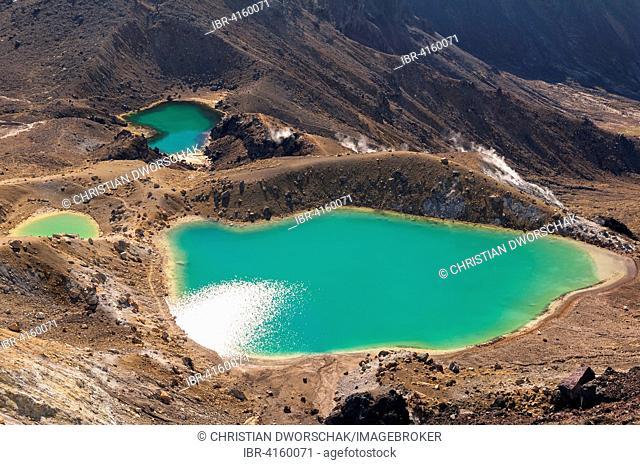 Emerald Lakes at the Tongariro Crossing in Tongariro National Park, Ruapehu District, Manawatu-Wanganui Region, North Island, New Zealand
