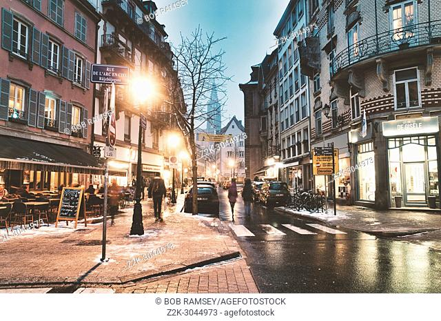 Night scene. Old City. Strasbourg. France