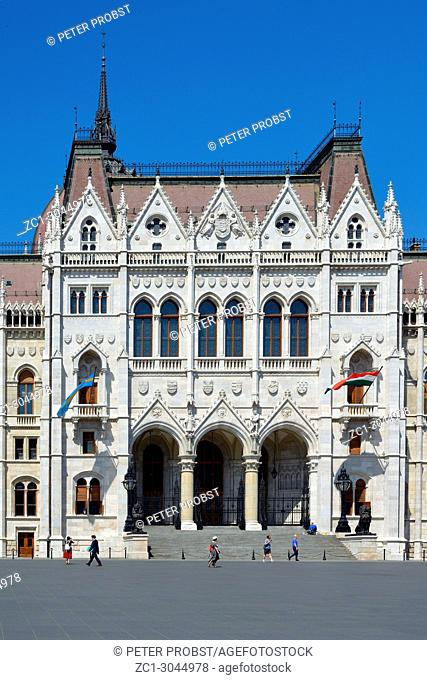 Main portal of the Hungarian Parliament building in the capital Budapest - Hungary