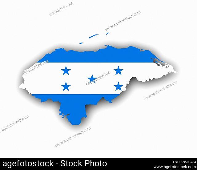 Karte und Fahne von Honduras - Map and flag of Honduras