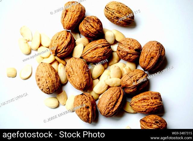 Walnuts and almonds on white background