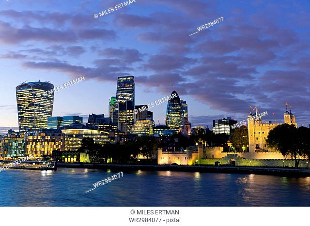 View of the Financial District of the City of London and the Tower of London, London, England, United Kingdom, Europe