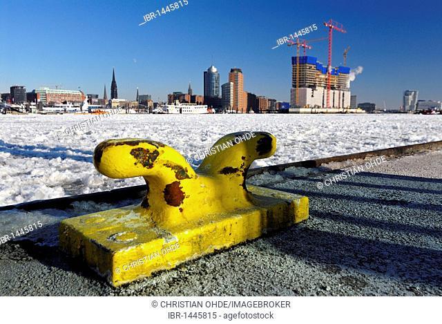 Elbe Philharmonic Hall, still being built, and icedrift in Hamburg Harbor, Hamburg, Germany, Europe