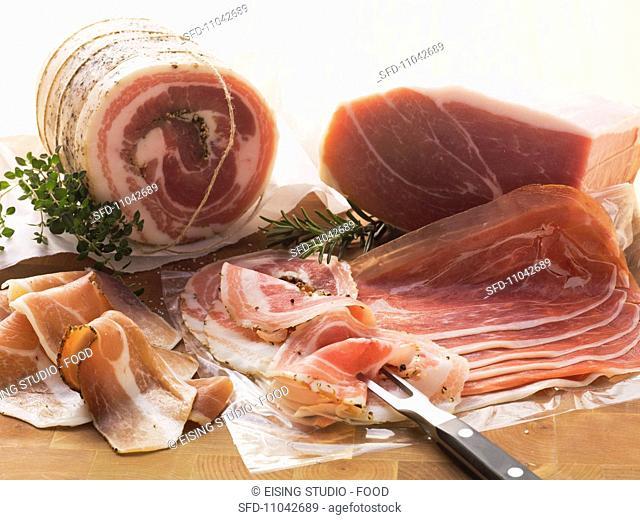 South Tyrolean ham, pancetta and Parma ham