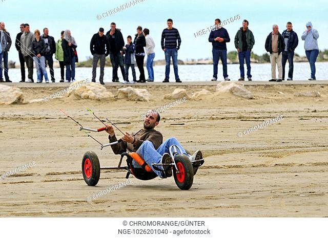 Buggy kiting at the beach of Etang du beauduc, Camargue, France