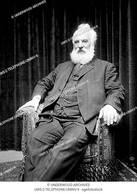 United States: c. 1918.A portrait of telephone inventor Alezander Graham Bell