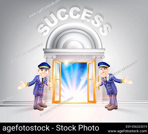 Success concept of a doormen hoding open a door to success with light streaming through it