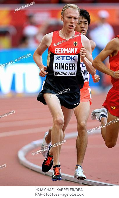Germany's Richard Ringer competes in the Men's 5000 M Qualification at the 15th International Association of Athletics Federations (IAAF) Athletics World...