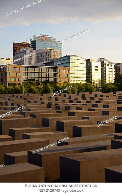 Peter Eisenman's Memorial to the Murdered Jews of Europe, also known as The Holocaust Memorial. Friedrichstadt neighborhood. Berlin, Germany, Europe
