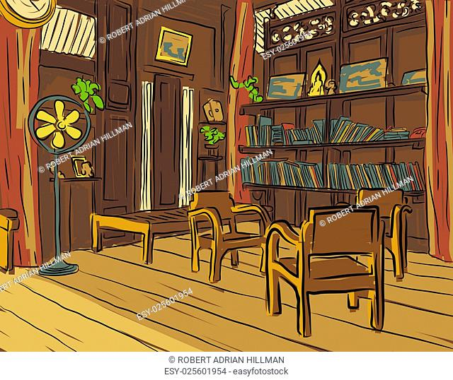 Editable vector color sketch of an olden reading room or living room with wooden furniture