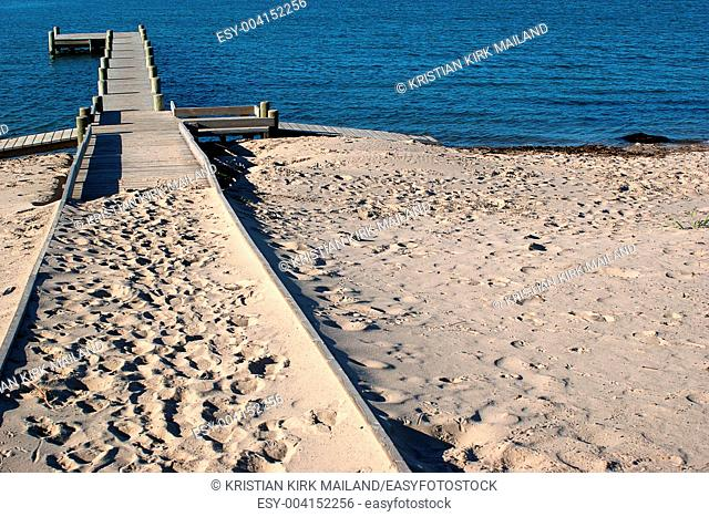 Beach at the Baltic Sea with wooden pier