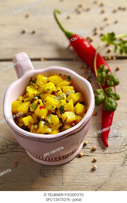Mango pickles with spices and chili