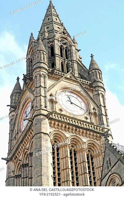 Town hall square Manchester England UK