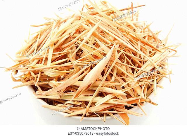 close up slice dried lemongrass isolated on white background