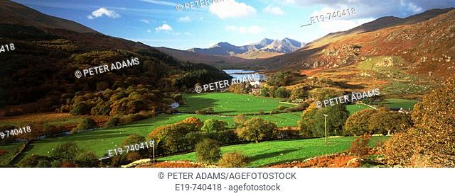 View of Lynnau Mymbyr and Mount Snowdon, North Wales, UK
