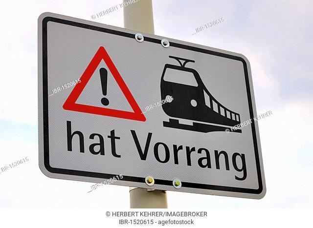 Traffic sign, S-Bahn hat Vorrang, German for S-Bahn train takes precedence