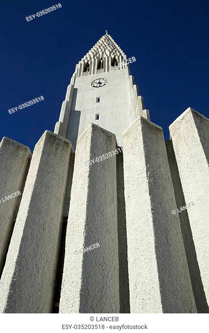 Looking up at the famous landmark in the Icelandic capital, the Lutheran place of worship was designed to resemble the basalt lava flows of the island%u2019s...
