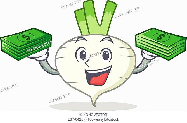 With money turnip mascot cartoon style vector illustration