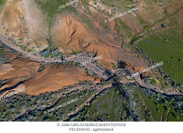 Eroded landscape, Los Valles, Lanzarote Island, Canary Islands, Spain, Europe