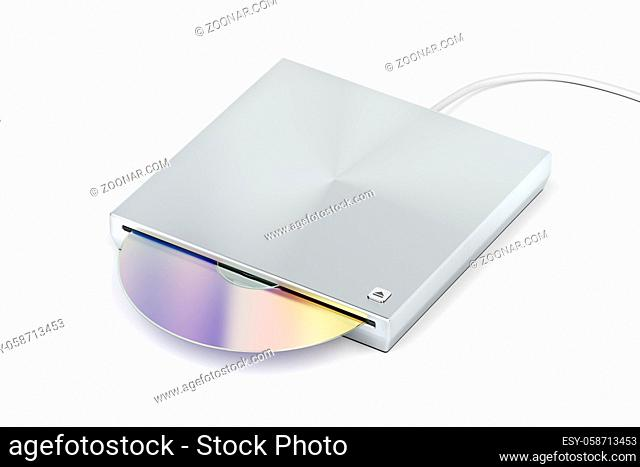 Slot-loading optical disc drive on white background