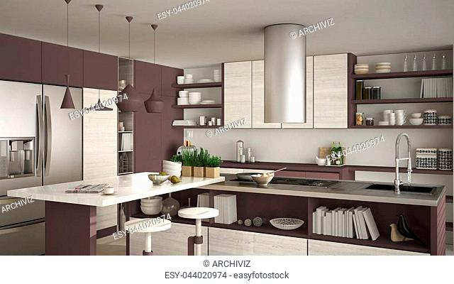 Modern wooden kitchen with wooden details, close up, island with stools, red and white minimalistic interior design