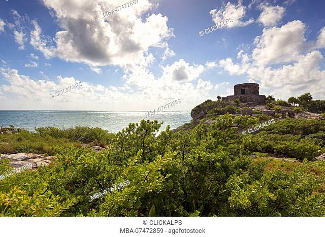 Temple of the God of Wind, Templo del Dios Vento, Tulum archeological site, Tulum municipality, Quintana Roo, Mexico