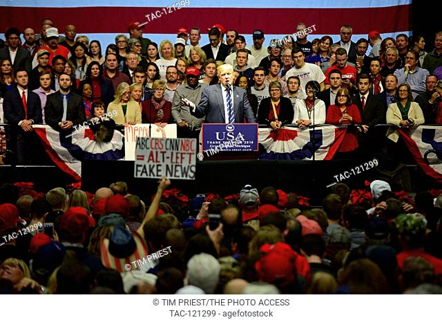 President Elect Donald J. Trump on stage speaking during the Thank You Tour 2016 at Deltaplex Arena & Confrence Center on December 9, 2016 in Grand Rapids