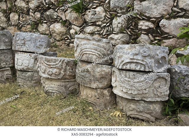 Carved Stones, Kabah Archaeological Site, Mayan Ruins, Puuc Style, Yucatan, Mexico