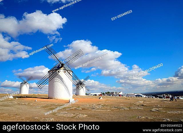 Campo de Criptana, Spain - November 1, 2018: Mills of the population of Campo de Criptana