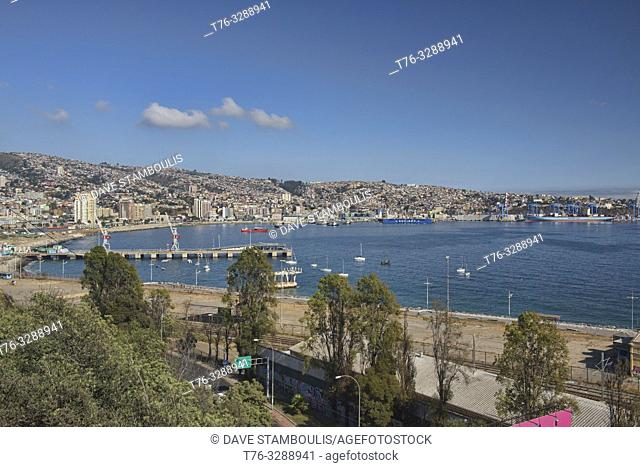 View of the city and bay, Valparaiso, Chile