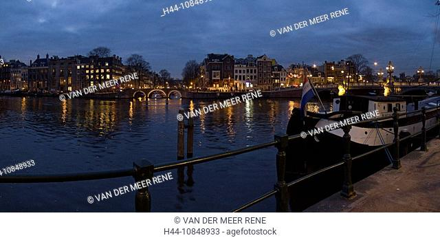 Netherlands, Holland, Europe, Amsterdam, Amstel river, city, town, Water, Winter, Night, Evening, ships, boats, christ