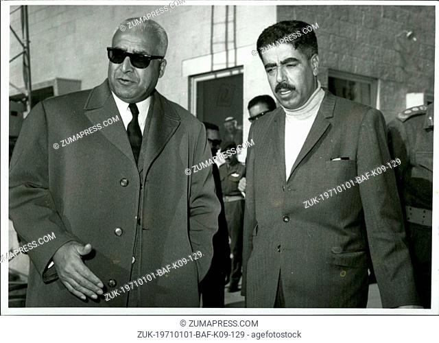 Jan. 01, 1971 - Jordan Premier Bids Farewell to Mr. Ladgham. Mr. Wasti Tell, the Prime Minister of Jordan (right), pictured at Amman Airport recently when he...