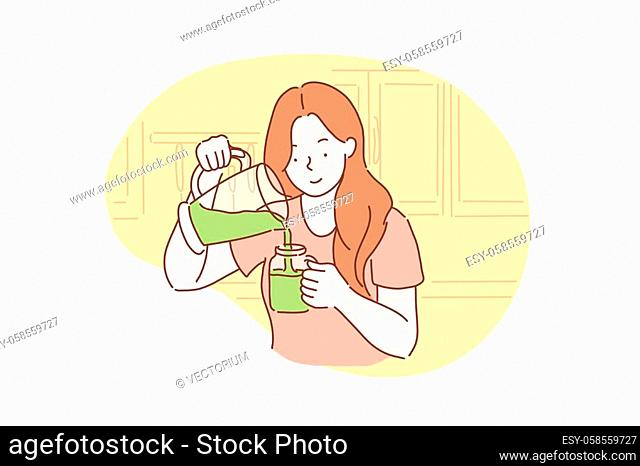 Health, vegetarianism, Vegan Green Concept. Happy healthy young woman got a vegetarian meal, Breakfast. Teenager Student girl with smile ready to eat healthy