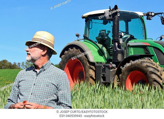 portrait of a farmer on the field. Porqueres, Girona province, Spain