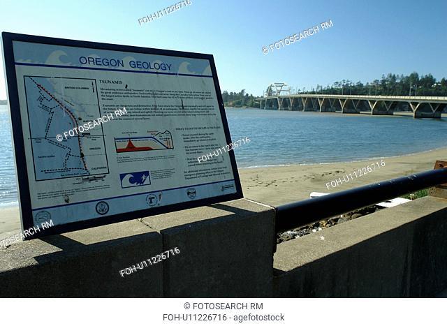 Waldport, OR, Oregon, Pacific Ocean, Pacific Coast Scenic Byway, Rt Route, Highway 101, Alsea River, Alsea Bay Bridge, interpretive sign