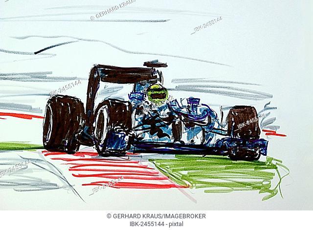 Formula 1 racing car, illustration, Gerhard Kraus, Kriftel, Germany