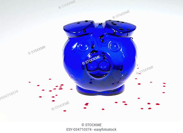 Blood is covering the moneybox with grey and white gradient background