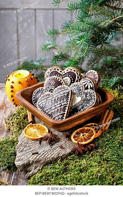 Bowl of gingerbread hearts. Party dessert
