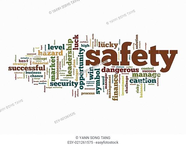 Safety word cloud with white background image with hi-res rendered artwork that could be used for any graphic design.
