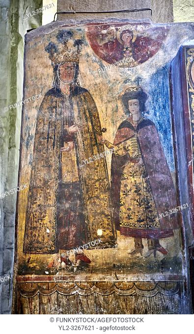 Pictures & images of the interior medieval frescoes. The Eastern Orthodox Georgian Svetitskhoveli Cathedral (Cathedral of the Living Pillar) , Mtskheta