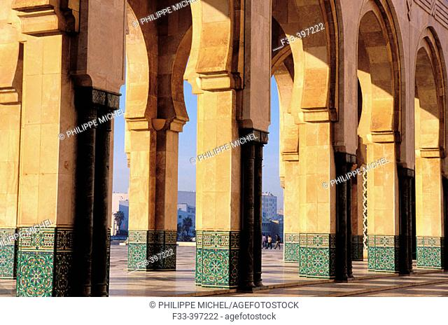 Gallery around the square. Hassan II Mosque. Casablanca. Morocco